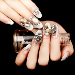 Wholesale Bride Nail Sticker - Diamond Shining Fake Nail Tips very popular 24pcs set Nail stickers Bride nail False Finished manicure Fake nails Lovely with White pearl