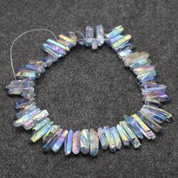 Wholesale Top Natural Gemstones - Natural Rainbow Titanium AB Crystals Quartz Point Pendants, Raw Healing Gemstone Spikes Top Drilled Briolettes Rock, Women Necklace Jewelry