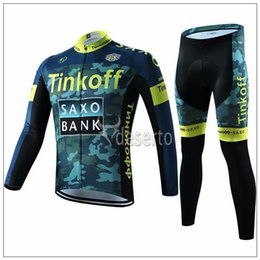 Wholesale Cycling Jersey Fleece Saxo - 2015 hot Newest tinkoff saxo bank Cycling Jerseys Camouflage Autumn none Fleece Quick Dry long sleeves Cycling jerseys size XS-4XL