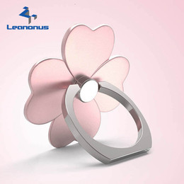 Wholesale Cell Phone Finger Cases - LEANONUS Universal Cell Phone Finger Ring Stand Holder For Phone Case Four Leaf Clover PC Phone Holder Stand for iPhone Xiaomi