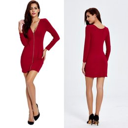 Wholesale Fall Tunics - 2016 New Red Fall Women's Fashion Dresses Long Sleeves Tunic Sheath Cocktail Party Dress FS0423