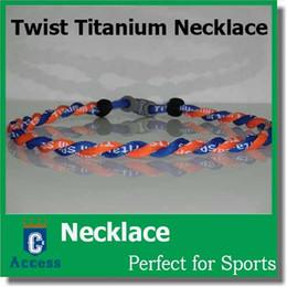"Wholesale Orange Tornadoes - NEW! 20"" 2 Rope Twisted Titanium Sport Necklace Orange Blue Tornado Baseball"