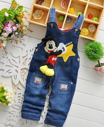 Wholesale Wearing Jeans Summer - New Arrive Boys Jeans Cartoon Mickey Straps Casual Denim Pants Costume Spring Autumn Children Wear Clothing