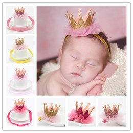 Wholesale Wholesale Baby Bling - New Baby Princess Crown Headbands Kids Elastic Sparkle Bling Headwear Newborn Baby Photography Props Lace Hair Accessories Hairpin KHA267