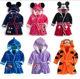 Wholesale Baby Cartoon Bath Robe - 2016 New Cartoon Baby Bathrobe Nightgowns Kids Pajamas Mickey Minnie Bath Robe Baby Homewear Boys Girls Hooded Rob