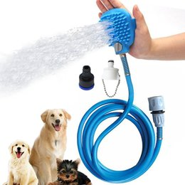 Wholesale massage shower head brush - Pet Shower Bathing Glove Sprayer Accessories With Grooming Brush Head For Home Dog Massage Washing Station And Pet Chew Toys