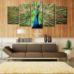 Wholesale Peacock Screen - Amesi Beautiful Canvas Oil Painting 5 Picture Shows Peacock Spread His Tail Realist Screen for Decoration