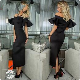 Wholesale Cheap Black Abayas - Abaya In Dubai Black Puffy Sleeve Sheath Elegant Evening Dresses 2017 Fashion Simple Split Off The Shoulder Cheap Prom Dress Tea Length