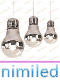 Wholesale Large Bulb Pendant Light - nimi892 Dia 15 25 30cm Simple Metal Semi-plating Large Bulb Chrome Glass Chandelier Pendant Lamp Restaurant Lights Living Room Study Lamps