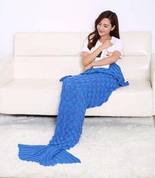 Wholesale Twin Tail - 2016 New design Crochet Mermaid Tail Blanket Super Soft Warmer Blanket Bed Sleeping Costume Air-condition Knit Blanket Autumn Winter LJJL166