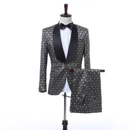 Wholesale Elegant Men Tuxedo - 2017 New Design Men Suits Elegant Style Wedding Men Party Prom Suits Custom Made Shawl Lapel Tuxedos (Jacket+Pants)