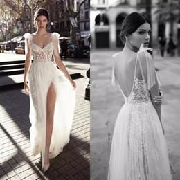 Wholesale Simple Gold Wedding Dres - Gali Karten 2018 High Slits Wedding Dresses Backless Bohemia Sexy Spaghetti Neckline Lace Appliqued Bridal Gowns Plus Size Wedding Dres