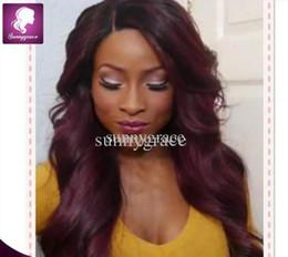 Wholesale Remy Hair Dark Wine - Supper beautiful Brazilian virgin hair body wave full lace wig 130% density dark red remy human hair 99j wine red