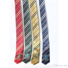 2019 caixas de gravata por atacado Frete grátis Crianças crianças gravata harry potter crachá de 4 faculdade grifinória corvinal hufflepuff bordado meninos meninas cosplay laços