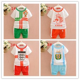 Wholesale Boys Clothing Set Pcs - Children's clothing suits for children summer 2016 colorful flag boy cotton a set two pieces a set 4 pcs A022418