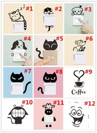 Wholesale Cartoon Dog Wall Decals - DIY Creative Wall Sticker Funny Cute Cat Dog Switch Stickers PVC Vinyl Decal Home Decoration Bedroom Parlor Decoration 12 styles