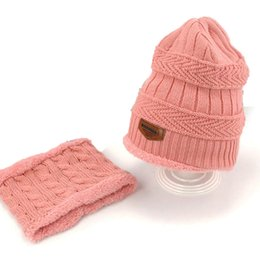 Wholesale Thick Knit Scarf Sets - Unisex Child And Adult Beanies Cap Set Kids Thick Cable Knit Add Velvet Hat and Scarf Winter Warm Suit Set MZ5356