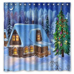 Wholesale New Curtains Designs - House Fur Tree Snow Winter New Year Bridge Design Shower Curtain Size 180 x 180 cm Custom Waterproof Polyester Fabric Bath Shower Curtains