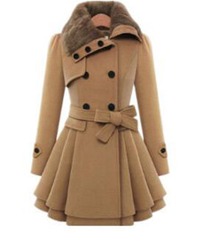 Wholesale Thick Sash Belt - Womens Modern Button Closure Winter Long Trench Coat,Swing Coat with Belt,Mid Length Thick Warm Jackets
