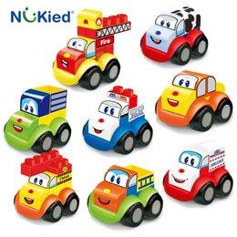 Wholesale Diy Blocks Police - NUKied 8pcs Happy Transformation Robot Car Blocks Kids DIY Building Toys With Ambulance Truck Crane Vehicle Police For Children