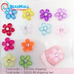 Wholesale 3d Flowers Nail Art Wholesale - Min order $10 New 100pcs Mixed Color Flower Shape Nail Art Flower Resin with Rhinestone 3D Nail Art Decora Free Shipping DIY142