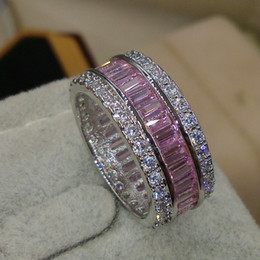 Wholesale Pink Cubic Zirconia Heart Ring - Victoria Wieck Luxury Jewelry Full Princess Cut Pink Sapphire 925 Sterling Silver Simulated Diamond Gemstones Wedding Band Ring Size 5-11