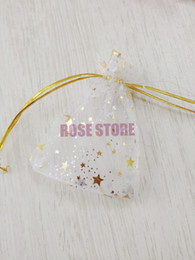 Wholesale Moon Stars Favor Bags - Wholesale 50pcs White Star Moon Pattern Jewelry Packing Drawable Organza Bags 7x9cm,Favor Wedding Gift Pouches Free Shipping