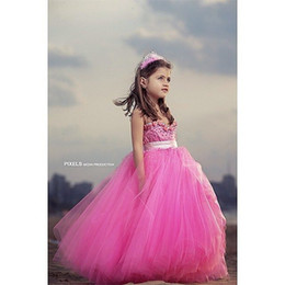 Wholesale Cute Beautiful Images - 2016 Cheap Little Beautiful Cute Baby Girl Pageant Dresses Pink Flower Girl Dresses