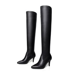 Wholesale Cheap Long Leather Boots - Free Shipping Ladies over knee long boots black pointed toe thin heel plain women shoe and boots stretch girls winter sexel boot cheap W6071