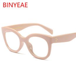Wholesale Fake Glasses Frames - high quality square glasses transparent clear lens vintage retro eyeglasses women 2018 newest beige acetate frame moypia fake glasses UV400