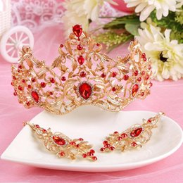 Wholesale Tiara Sets For Bride - 2017 New Fashion Magnificent Red Crystal Bridal Tiaras Earrings Crystal Wedding Crown for Bride Wedding Pageant Hair Accessories Jewelry Set
