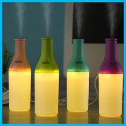 Wholesale Essential Oil Packaging - Cool Bottle 180ml USB Mini Humidifier Led Night Light Air Purifier Essential Oil Diffuser Aroma Mist Maker Home Car Humidifier