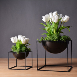 Wholesale Large Green Vases - pot tray White Black Modern Tabletop Vase Metal Square Plant Pot Tray Cube Pergola Garden Planting Flower Home Decoration