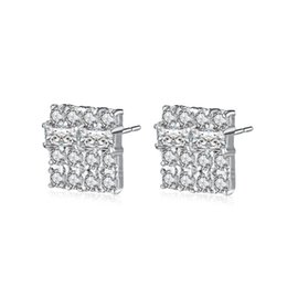 Wholesale earring stud yellow gold - 18K Yellow  White Gold Plated AAA CZ Square Earrings Studs for Girls Women Nice Gift for Friends Drop Shipping