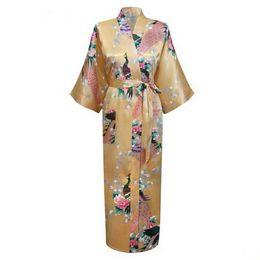 Wholesale White Bat Flower - Wholesale- Fashion Gold Chinese Women Silk Satin Robe Gown Sexy Lingerie Long Nightgown Flower Bat-wing Sleeve Size S M L XL XXL XXXL A-032