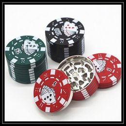 Wholesale Chip Grinder - 2016 Newest Zinc Alloy Poker Chip Grinders 40mm 3 Part Layers Mini Jetton Box Style Herbal Grinder Crushers CNC Teeth Filter Net Grinders