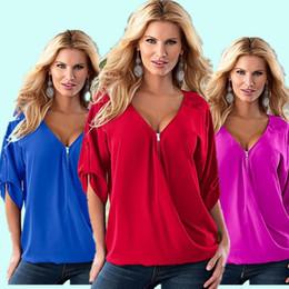Wholesale Ladies Half Sleeve Chiffon Tops - Wholesale Big Size 5XL Sexy Zipper V-Neck Ladies Chiffon Blouse Blusas Loose Rolled Up Half Sleeve Shirt Women Tops Camisa Feminina