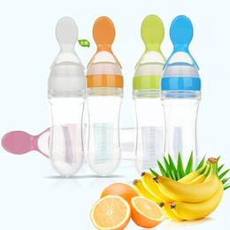 90ml Silicone Baby Spoon Training Infant Alimentazione Riso Cereal Spremere Baby's Bottle Svezzamento Alimentatore Alimentatore Stoviglie da i capezzoli all'ingrosso della bottiglia del bambino fornitori