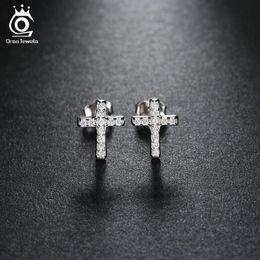 Wholesale Cubic Zirconia Stud Earrings Wholesale - Platinum Plated Cross Silver Stud Earring Micro Pave AAA Austrian Cubic Zirconia for Wedding Fashion Women Jewelry OE132