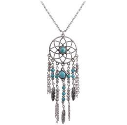 Wholesale Native American Gold - Collier Femme Plume Dreamcatcher Native American Fringe Necklace Collier attrape reve Colares Boho Chic Collana Acchiappasogni HJIA514
