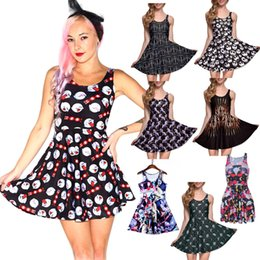 Wholesale Green Dress Printing - NEW 265 Style Sexy Girl Women Summer The Nightmare Before Christmas Unicorn 3D Prints Reversible Sleeveless Skater Pleated Dress Plus size