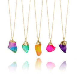 Wholesale Necklace Brazilian - Fashion Colorful Brazilian Irregular Natural Stone Quartz Crystal Pendant Necklace for women Gold Chain Necklace Jewelry