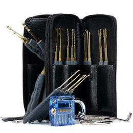 corte de vado Desconto Transparente Cutaway Prática Cadeado 24 pcs Sacos De Couro Lock Pick Set Ferramenta de Habilidade de Treinamento Auto Serralheiro Ferramentas de Programação Kit saco