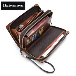 Wholesale Luxury Business Bags For Men - Wholesale-New Brands Clutch Bag Men Wallets Black Brown Luxury Large Capacity Gift for Male Double Zipper Long Wallet Handbag Purse