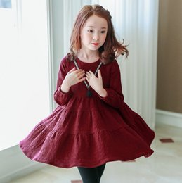Wholesale Korean Pleated Skirt - New design autumn baby girls dress Korean long sleeve princess dress for big kids fashion base skirt for children