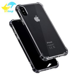 Wholesale Clear Soft Case For Iphone - Super Anti-knock Soft TPU Transparent Clear Protect Cover Four Angle Shockproof Soft Cases For iPhone 6 6 7 8 plus X samsung s8 plus note8