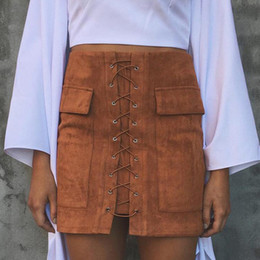 Wholesale Pocket Pencil Skirt - Wholesale- New Leather Skirt Autumn Lace up Leather Suede Pencil Skirt Vintage Pocket Preppy Short Skirt Winter High Waist Casual Skirts