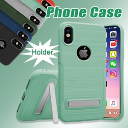 Wholesale Wholesale Iphone Cases Drawing - Hybrid Cell Phone Case for iPhone X PC TPU Non Slip with Holder Armor Drawing Cover for iPhone 7 6 Plus Samsung Note 8 S8