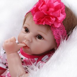 Wholesale Play Dresses For Girls - Wholesale- NPK 55cm Silicone reborn baby doll toys for girl, lifelike reborn babies with flora dress rooted hair children play house toys