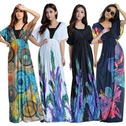 Wholesale Maxi Dresses Designs - New 7 Designs Women Plus Size Dress 2016 Bohemian Clothes M-6XL Floral Print Beach Maxi Dresses